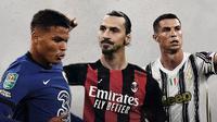 Thiago Silva, Zlatan Ibrahimovic dan Cristiano Ronaldo. (Bola.com/Dody Iryawan)