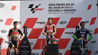 Podium MotoGP Emilia Romagna 2021 di mana Marc Marquez keluar sebagai pemenang. (ANDREAS SOLARO / AFP)