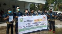 Ratusan atlet dan pelatih di KONI Sumsel menjalani suntik vaksinasi Covid-19 di KKP Palembang (Dok. Humas KONI Sumsel / Nefri Inge)