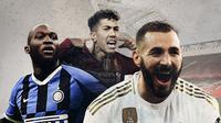 Romelu Lukaku, Roberto Firmino dan Karim Benzema. (Bola.com/Dody Iryawan)