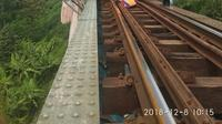 Kereta kerja MTT Anjlok di Km 15+ 8/9 antara Stasiun Padalaran - Stasiun Cilame pada Sabtu (8/12). Dok KAI
