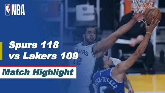 Berita video highlights NBA 2020/2021 antara LA Lakers melawan San Antonio Spurs yang berakhir dengan skor 109-118, Jumat (8/1/2021) siang hari WIB.