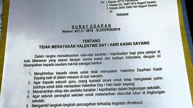Perayaan Valentine Terlarang Untuk Pelajar Makassar