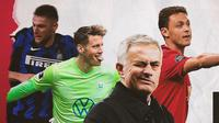Jose Mourinho, Milan Skriniar, Wout Weghorst dan Nemanja Matic. (Bola.com/Dody Iryawan)