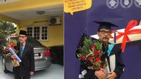 Seorang kakek berusia 87 tahundi Malaysia berhasil meraih gelar sarjana (Dok.Twitter/@eikazulaikha_/Komarudin)