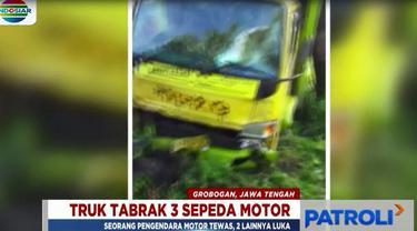 Truk bermuatan cabai hilang kendali hingga akhirnya keluar dari badan jalan dan menabrak tiga sepeda motor dari arah berlawanan.