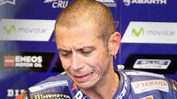 Pebalap Yamaha, Valentino Rossi, menyatakan ada empat pebalap yang perlu diwaspadai pada balapan MotoGP Austin, Minggu (23/4/2017). (EPA/Paul Buck)
