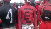 Salah satu simpatisan fanatik Jokowi di Yogyakarta. (Liputan6.com/Fathi Mahmud)