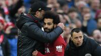 Mohamed Salah bersama Jurgen Klopp. (AFP/Paul Ellis)