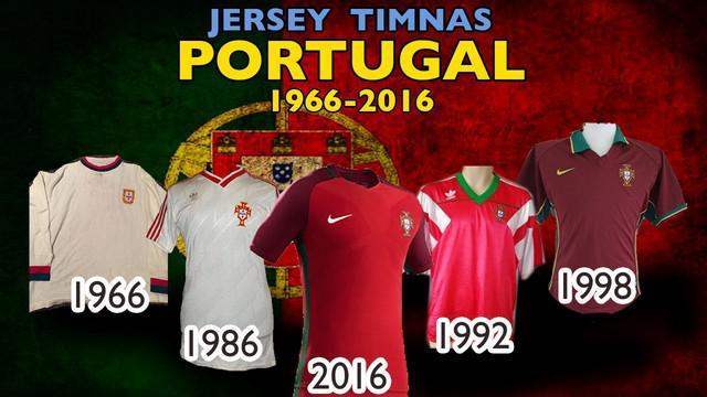 Video jersey sepak bola tim nasional negara Portugal dari tahun 1966 hingga 2016.