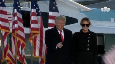 Penampilan perpisahan Presiden AS Donald Trump dan Ibu Negara Melania Trump di Joint Base Andrews, Maryland.