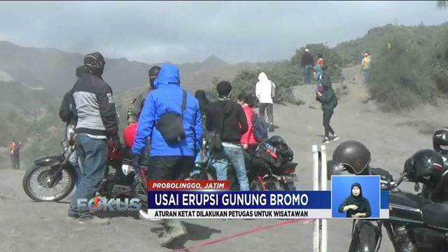 Meski aktivitas vulkanik Gunung Bromo menurun, wisatawan tetap belum boleh memasuki radius 1 kilometer dari kawah.