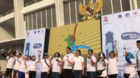 Kemenkominfo meluncurkan gerakan satu juta tumbler di GBK, Senayan, Jakarta. (Delvira Hutabarat)