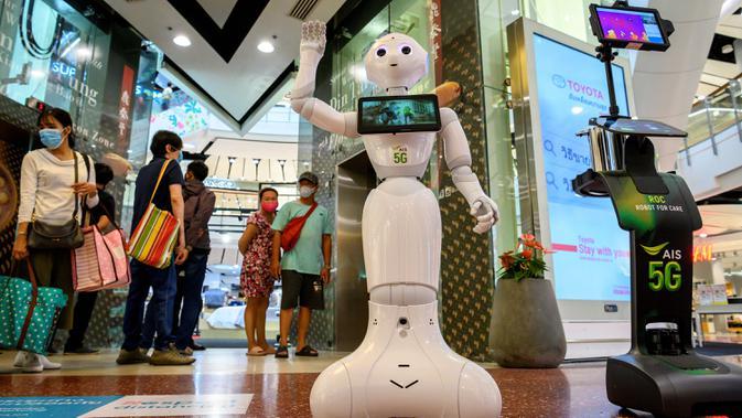 FOTO: Robot Bantu Cegah Penyebaran Corona di Pusat Perbelanjaan Bangkok