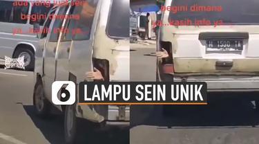 Momen unik dan lucu direkam oleh perekam video karena menemukan sebuah mobil yang memiliki lampu sein berbeda dari yang lain.