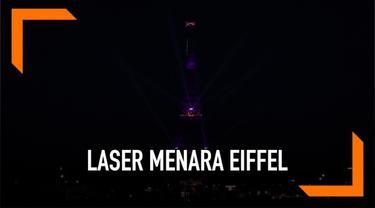 Pertunjukan laser memukau warnai peringatan ulang tahun Menara Eiffel yang ke-130. Ikon Prancis itu berwarna-warni selama 12 menit.