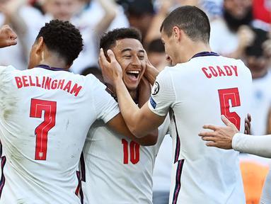 Dua gol dari Jesse Lingard mewarnai kemenangan 4-0 Inggris atas tim lemah Andorra dalam laga Kualifikasi Piala Dunia 2022 Grup I Zona Eropa di Wembley Stadium, London, Minggu (5/9/2021). Dua gol lainnya disumbangkan Harry Kane dan Bukayo Saka. (Foto: AFP/Justin Tallis)