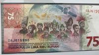 Uang pecahan baru Rp 75 ribu (Liputan6.com)