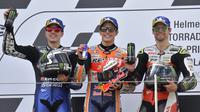 Pembalap Monster Yamaha, Maverick Vinales, menyebut finis di peringkat kedua pada MotoGP Jerman adalah pencapaian terbaik. (AFP/Tobias Schwarz)