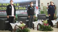 Menteri Pemuda dan Olahraga (Menpora) Zainudin Amali, Ketua PSSI Mochamad Iriawan, dan Direktur Utama PT Liga Indonesia Baru Akhmad Hadian Lukita. (Kemenpora).