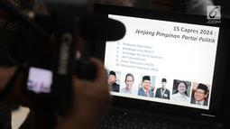 Capres 2024 versi LSI Denny JA diumumkan saat pemaparan survei terkini bertajuk '15 Capres 2024 yang Lolos Radar dan the Legend Award', Jakarta, Selasa (2/7/2019). Di antaranya Prabowo Subianto, Sandiaga Uno, Airlangga Hartarto, AHY, Puan Maharani, dan Muhaimin Iskandar. (Liputan6.com/Faizal Fanani)