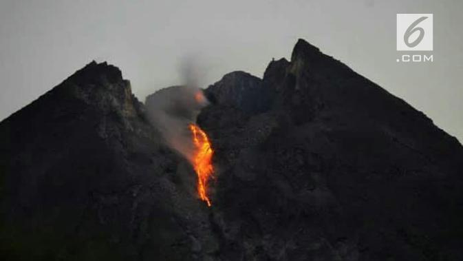 Puncak Merapi melelehkan lava beberapa pekan terakhir. Eksotisme yang disalahpahami sebagai sinyal menakutkan. (foto: Liputan6.com/edhie prayitno ige)