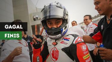 Pembalap muda Indonesia, Mario Suryo Aji yang turun di kelas AP 250, gagal finis pada race pertama seri keenam ARRC 2018 di Sirkuit Buriram, Thailand, Sabtu (1/12/2018)