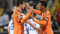 Alvaro Morata lakukan selebrasi pada laga Juventus kontra Dynamo Kiev di matchday 1 Liga Champions 2020/2021, Rabu (21/10/2020) dini hari WIB. I Bianconeri menang 2-0. (Sergei SUPINSKY / AFP)