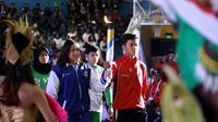Pembukaan Pekan Olahraga Palajar Nasional (Popnas) XV/2019  di Gelanggang Mahasiswa Soemantri Brodjonegoro, Jakarta, Minggu (17/11) malam.