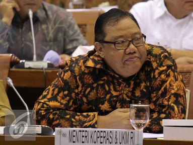Menteri Koperasi dan UKM Anak Agung Gede Ngurah Puspayoga mengikuti raker dengan Komisi VI DPR, Jakarta, Kamis (4/2). Raker yang seharusnya membahas  MEA Trans Pacific Partnership, Globalisasi, Gula, Beras, Garam harus Ditunda. (Liputan6.com/Angga Yuniar)