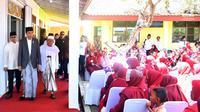 Presiden Jokowi saat meresmikan Bank Wakaf Mikro di Serang, Banten, Rabu (14/3). Menurut Jokowi, program ini diharapkan bisa memberi solusi bagi masyarakat yang kesulitan mendapat akses pembiayaan dari perbankan. (Liputan6.com/Pool/Biro Setpres)