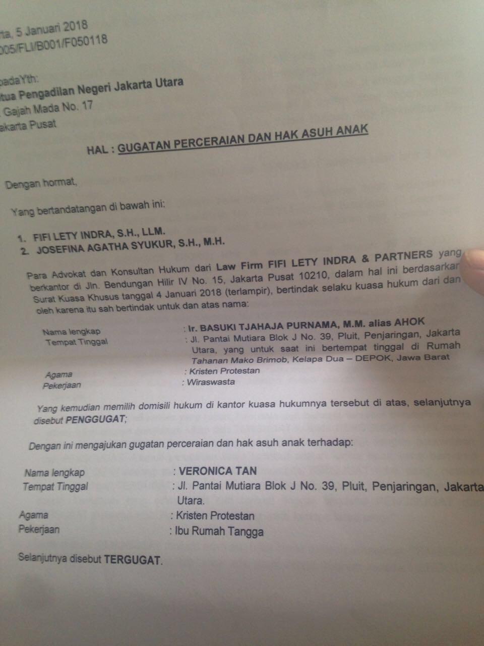 Beredar Surat Gugatan Cerai Ahok Ke Veronica Tan News