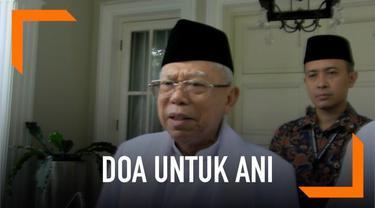 Calon wakil presiden nomor urut 01, Ma'ruf Amin mendoakan mantan ibu negara, Ani Yudhoyono lekas sembuh dari sakit kanker darah.