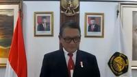 Menteri Energi dan Sumber Daya Mineral (ESDM) Arifin Tasrif dalam Upacara Hari Jadi Pertambangan dan Energi ke-76.