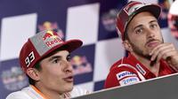 Marc Marquez sempat menyebut Andrea Dovizioso sebagai kandidat bagus pengganti Dani Pedrosa mulai MotoGP 2018. (JAVIER SORIANO / AFP)