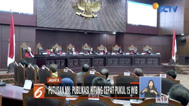 Mahkamah Konstitusi putuskan quick count atau hitung cepat Pemilu 2019 boleh ditayangkan media dua jam sejak penutupan TPS di wilayah barat Indonesia.