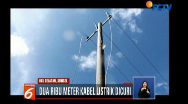 Lokasi kabel listrik yang paling banyak hilang adalah di Desa Cokoh Nau menuju Desa Simpang Luas hingga Desa Ujan Mas.