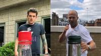 John Mayer dan Jason Statham jawab tantangan Bottle Cap Challenge. (Instagram/johnmayer/jasonstatham)