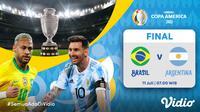 Live streaming Brasil vs Argentina di Copa America 2021, Minggu (11/7/2021) dapat disaksikan melalui platform Vidio. (Dok. Vidio)