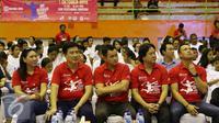 (Dari kiri) Legenda bulu tangkis Susi Susanti, Alan Budikusuma, Chandra Wijaya, Liem Swie King, dan Rexy Mainaky hadir dalam acara bertajuk BRI Berbagi Raket Juara Road to The Mext Champions di Jakarta, Sabtu (1/10). (Liputan6.com/Immanuel Antonius)
