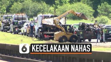 Kecelakaan maut terjadi di Alabama, Amerika Serikat. 15 kendaraan terlibat dalam kecelakaan yang menyebabkan belasan orang tewas, termasuk 8 anak panti asuhan.