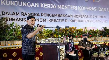 Menteri Koperasi dan UKM Teten Masduki dalam acara Pengembangan Koperasi dan UMKM Berbasis Ekonomi Kreatif di Kabupaten Klungkung, Selasa (8/6/2021).