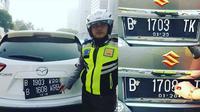 satuan kepolisian lalu lintas Polda Metro Jaya kembali menemukan para pengendara mobil merekayasa plat nomor saat melintasi wilayah ganjil genap di jalan Sudirman, Jakarta. (@tmcpoldametro))