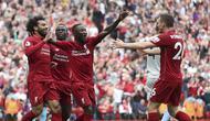 Sadio Mane, Mohammed Salah dan Naby Keita rayakan gol Liverpool atas West Ham (David Davies/PA via AP)