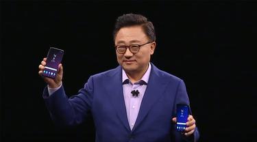 DJ Koh, Head of IT & Mobile Communications (IM) Division saat berbicara di atas panggung peluncuran Samsung Galaxy S9 di Fira Barcelona Gran Via, Spanyol. Liputan6.com/Agustin Setyo W