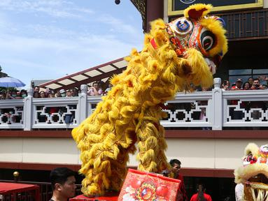 Pertunjukan barongsai saat puncak perayaan Cap Go Meh 2571 di Jalan Pancoran, Glodok, Tamansari, Jakarta Barat, Sabtu (8/2/2020). Cap Go Meh 2571 dimeriahkan berbagai atraksi seni budaya China dan Betawi. (Liputan6.com/Johan Tallo)