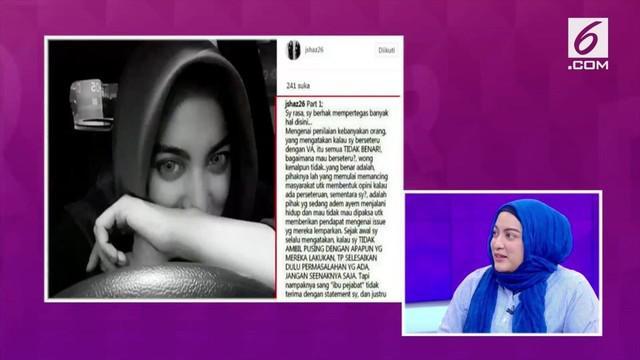 Jane Shalimar mengakui sempat menyindir Vanessa dan Didi dalam sebuah unggahan di Instagram.