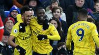 Striker Arsenal Pierre-Emerick Aubameyang, Nicolas Pepe dan Alexandre Lacazette (DAN ISTITENE / GETTY IMAGES EUROPE / GETTY IMAGES/AFP)