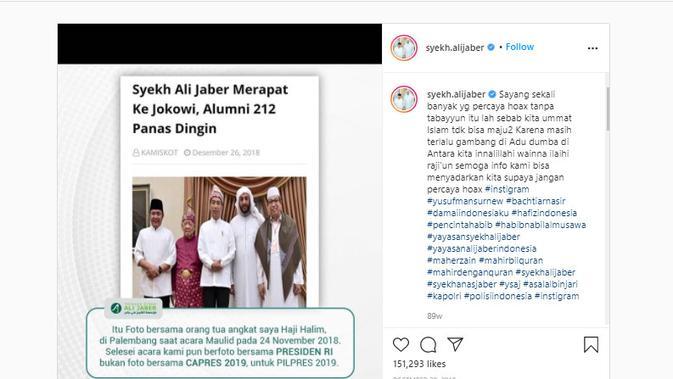Cek Fakta Liputan6.com menelusuri klaim foto Syekh Ali Jaber merapat ke pemerintah