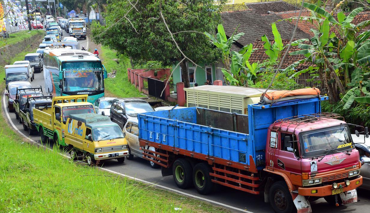 Antrean kendaraan pemudik memadati Jalan Layang Simpang Rajapolah, Tasikmalaya, Jawa Barat, Kamis (24/7/14). (ANTARA FOTO/Adeng Bustomi)